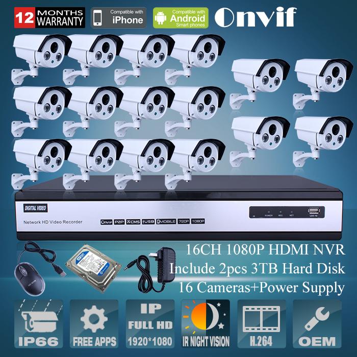 16CH ONVIF H.264 NVR Security CCTV Camera System 6TB HDD 2MP Full HD Outdoor Bullet Network IP Camera 1080P Surveillance Camera<br><br>Aliexpress