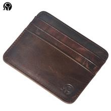 100% in pelle di Mucca Titolare della Carta di Credito titolare della carta di credito cassa di carta di cuoio sottile casuale degli uomini delle donne della carta di credito portafoglio(China (Mainland))
