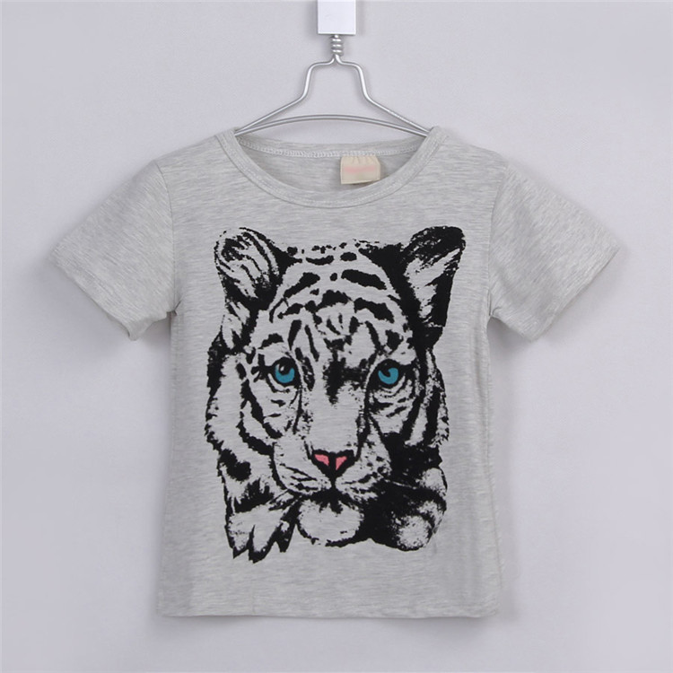 2015 summer new style tiger print little girls short sleeve clothing girls long shirts baby girls fashion T-shirts A2403(China (Mainland))