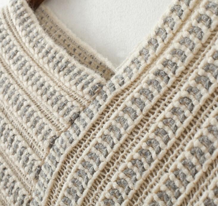 2016 женщин зимы V шеи Batwing полосы плащ бахромой шить нерегулярные топы кабо-пончо шаль кабо-свитер Blusas FeМиниnas W762