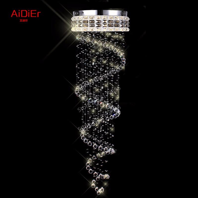 Купить Современный люстра кристалл освещение пентхаус лестничная клетка висит провод вилла винтовая лестница Dia500xH1800mm