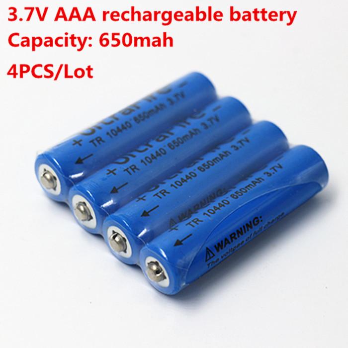 4PCS/Lot Free shipping 10440 Battery 3.7v Li-ion For Torch Flashlight 10440 Rechargeable Battery 650mAh(China (Mainland))
