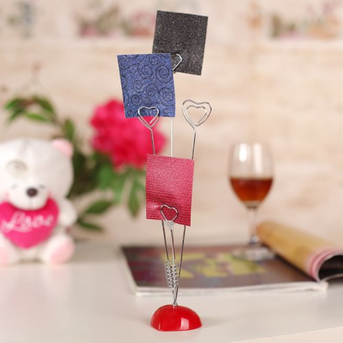 2 sets of 4 Standing-Heart Wire Holders Photo Card Note Memo Clips Tree<br><br>Aliexpress