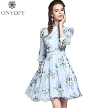 2017 Spring New Fashion Women 3/4 Sleeve Stand Neck Floral Print Elegant Dress Ladies Slim Waist Party Dresses Robe Femme(China (Mainland))