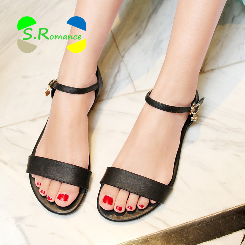S.Romance Women Sandals Genuine Leather Soft Rubber Sole Basic Buckle Strap Size 34-43 Women's Summer Shoes SS168(China (Mainland))