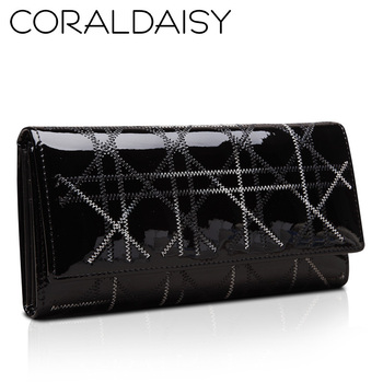 Coraldaisy Wallets  New  2013 Long Design Three Fold Wallet  Patent  Leather Wallet