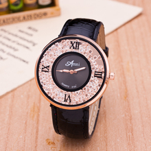 7 Colors New Fashion Colorful women rhinestone watches women dress watch leather strap watches 1pcs/lot