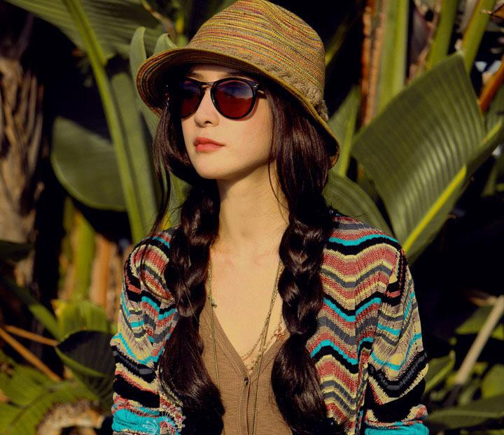 Korean Style Lady's Summer Bohemian Stripe Sun Hat Foldable Sun Hat(China (Mainland))