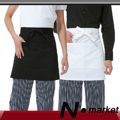 2014 Free Shipping New Small Cotton Chef Aprons half Red Black White Resturant Cook Kitchener Apron(China (Mainland))