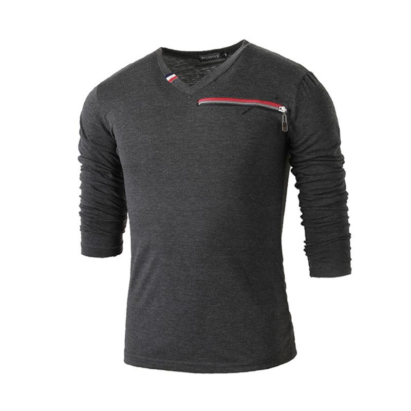New 2016 casual long sleeve t shirt men v neck fake zipper for Men s v neck pocket tee shirts