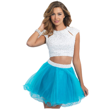 New Arrival  Cap Sleeves Short 2 Piece Homecoming Dresses With Pearls(China (Mainland))