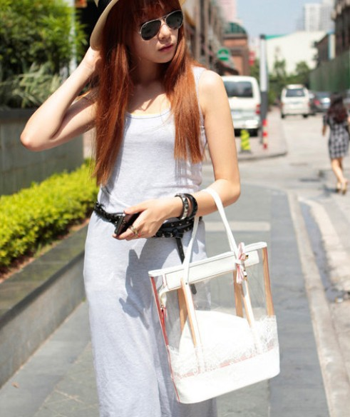 Bag in Bag Womens Sweet Jelly Clear Lace Transparent Handbag Hobo Tote Shoulder Bags 4 colors for choose(China (Mainland))