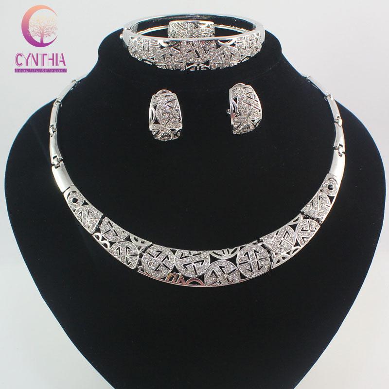 Fashion Dubai 18K White Gold Plated Full Rhinestone Jewelry Sets Trendy Nigerian Wedding African Beads Party Gift Set
