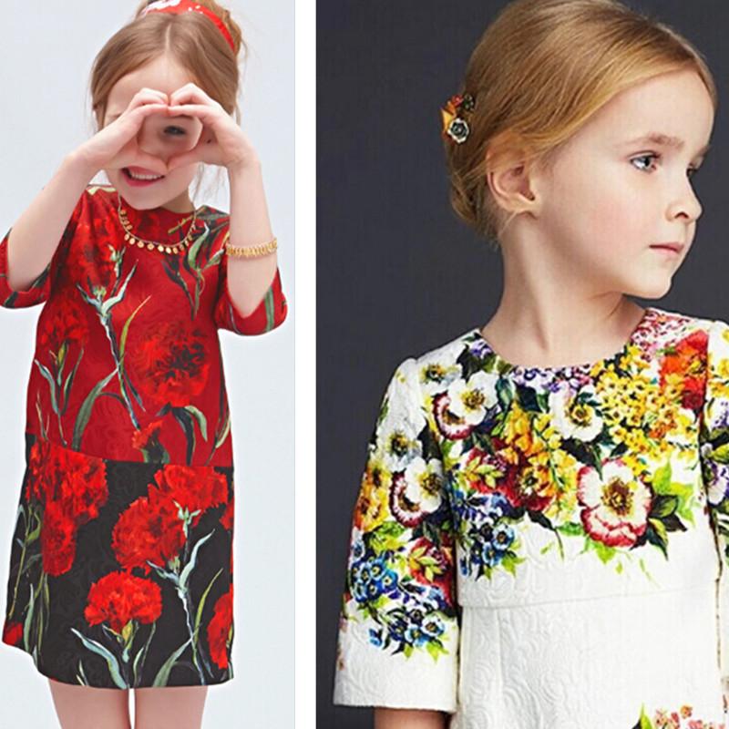 2016 fashion week children dress kids princess clothes baby flower party dress Italian children dress princess sleeves Jacquard(China (Mainland))