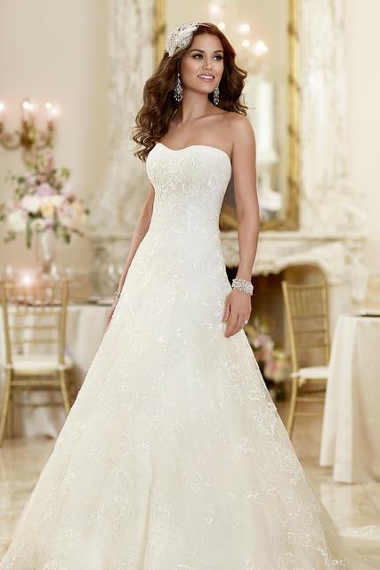 Новый горячая распродажа элегантный простой платье-линии свадебное платье 2016 без ...