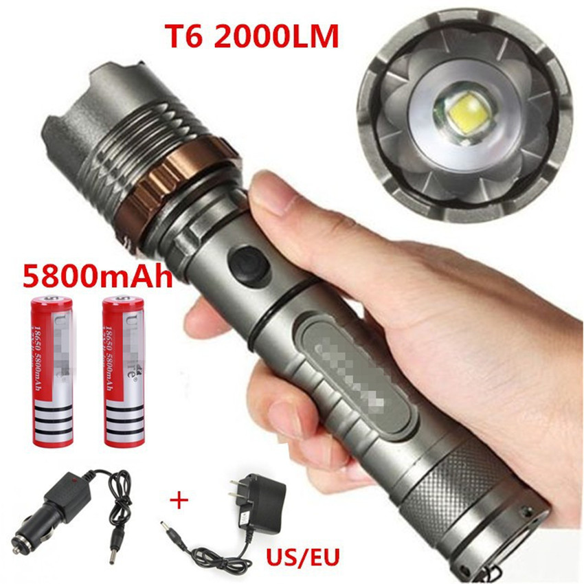 New CREE XM-L T6 LED 2200Lm Zoomable Flashlight Torch Zoom Lamp 2x18650+Car Charger+ US / EU Charger<br><br>Aliexpress