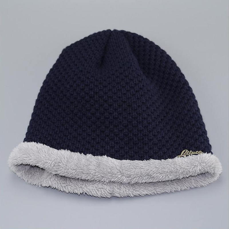 Winter Hats for Men Wool caps Man Beanie Hat Double Layers with Velvet Z-1591()