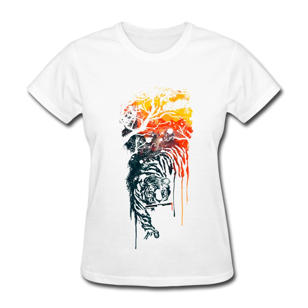 T Shirt Womens Solid Animal Painted Tiger Printed Women 39 S