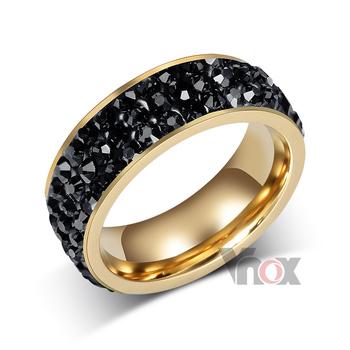 Женщины кристалл кольца 18 K позолота нержавеющая сталь свадьба кольца для женщины ...
