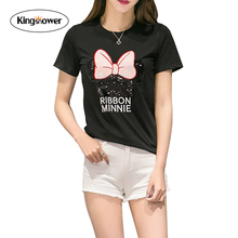 2016 New Summer Fashion Cartoon Women T-shirt Embroidered Ribbon Minnie Printing Loose Size Girl's Tops Shirts XXL J6102