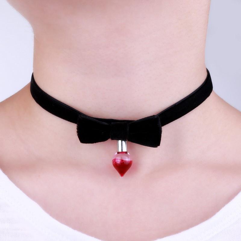 Blood Bottle Bowknot Choker Necklace