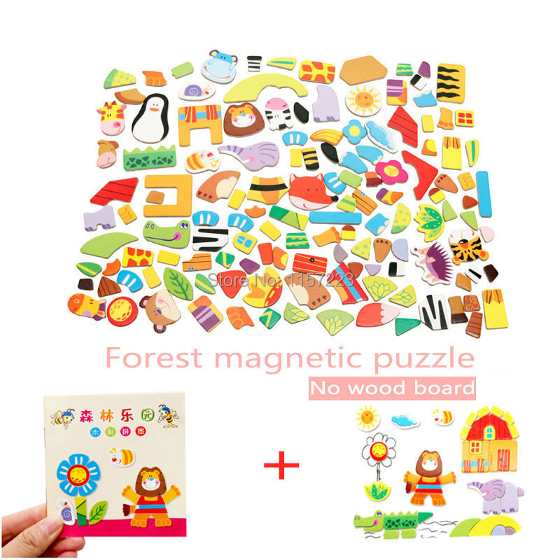Animal Wooden Magnetic Puzzle Toys Farm&Forest&Cartoon Figure Educational Jigsaw Baby's Drawing Puzzles Easel for Children Girls(China (Mainland))