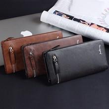 Baellerry Brand New Men Wallet Fashion Black Mens Long Wallet Leather Genuine Zipper Coin Purse Wallet