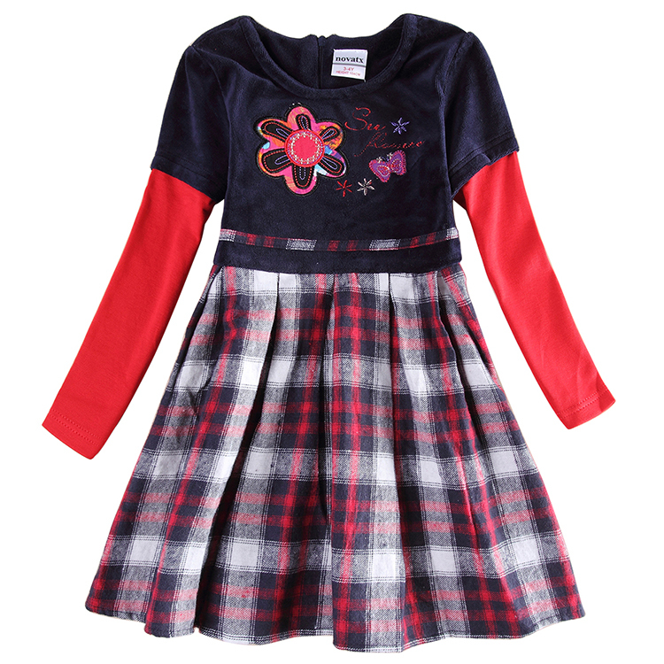 Girl plaid winter dress children embroidery flowers clothing dress for girls cotton princess long sleeve dress for girls H6081<br><br>Aliexpress