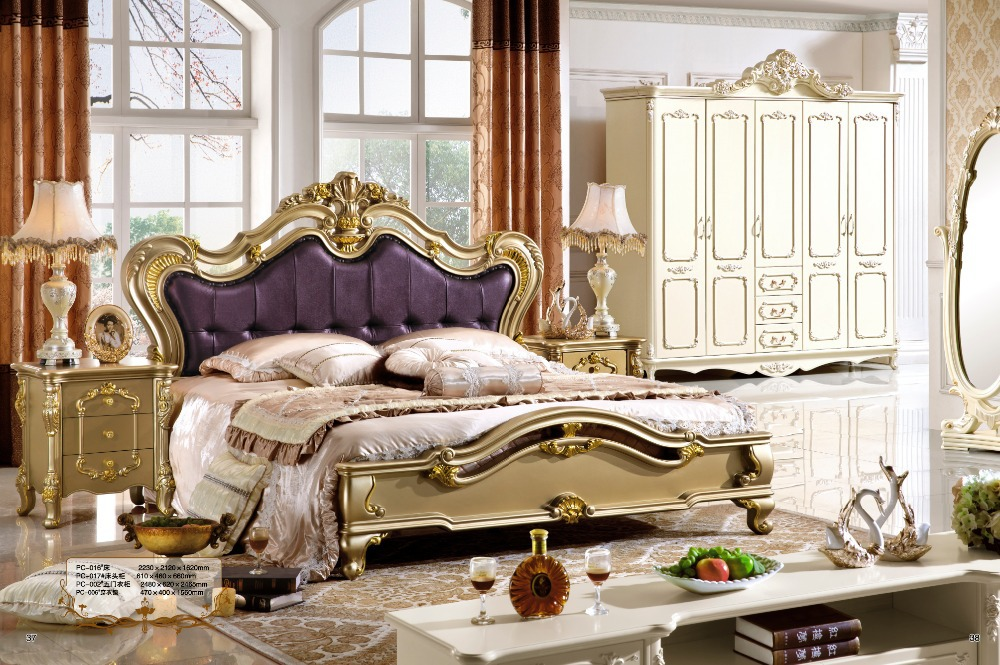 Antique Style French Furniture Elegant Bedroom Sets PC 014 In Beds