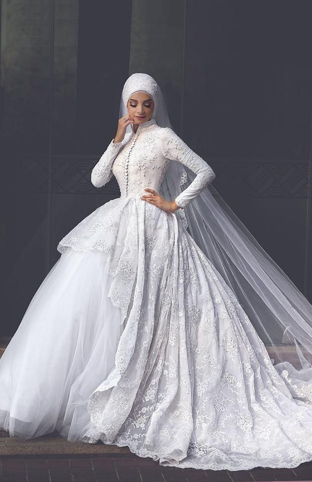 Muslim wedding dresses high neck long sleeves bridal for Casual winter wedding dresses with sleeves
