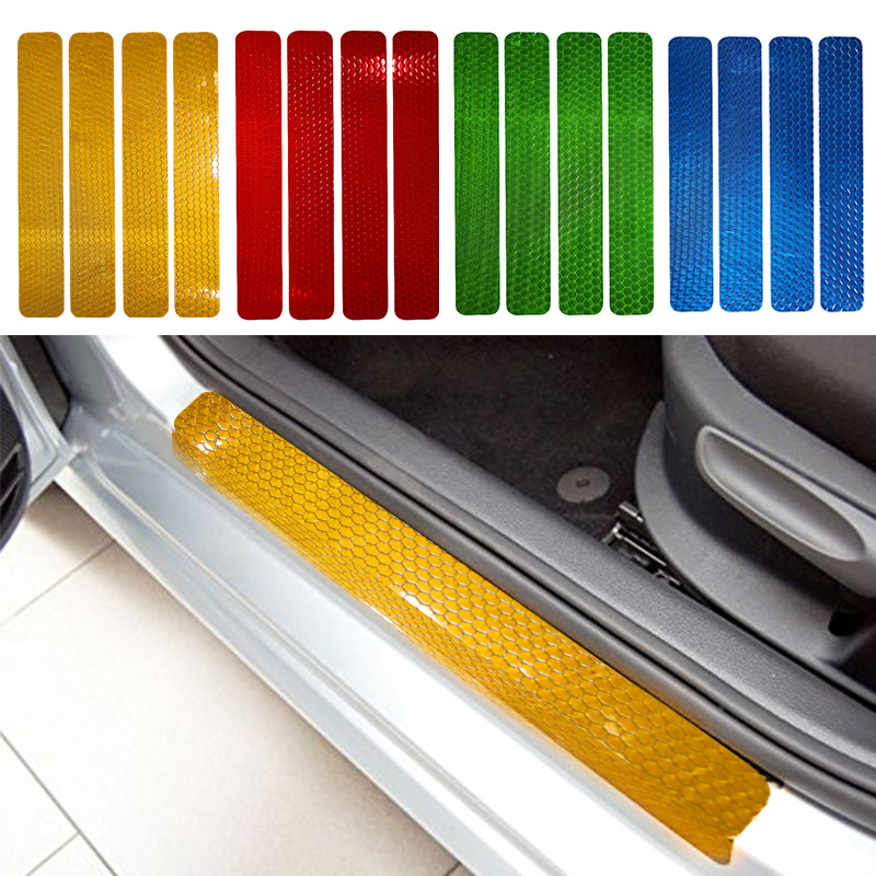 For Renault Captur 2014 2015 Car Door Sill Scuff Protect reflector Stickers 4pcs Car Styling Anti-Scratch Sticker Car styling(China (Mainland))