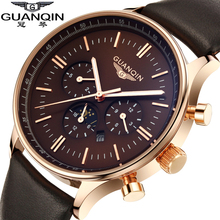 Top Brand Luxury GUANQIN Fashion Quartz Watches Men Big Dial Waterproof Leather Strap Men Watch Relogios Masculino Relojes