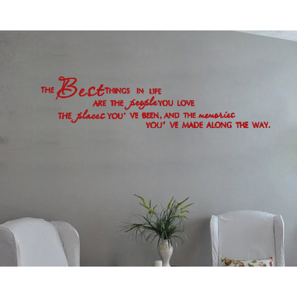 """Boutique English"""" The Best Things In Life People Places """"Decal-60*25cm,Red(China (Mainland))"""