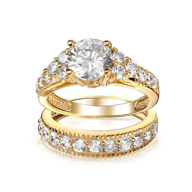 Aliexpress Buy 18K Gold Plated Brilliant With Pave Top Cubic Zirconia Set CZ Diamond Two