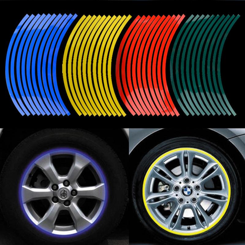 "14''-18"" Big Brand Wheel The flame Reflective Car Motorcycle Rim Sticker,motoycycle car wheel tire sticker Reflective rim tape(China (Mainland))"
