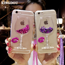 Buy XINGDUO Quicksand Bling Rhinestone Wine Glass Pattern Phone Case Hang Rope Samsung galaxy 2016 2017 A3 A5 A7 J3 J5 J7 for $6.91 in AliExpress store