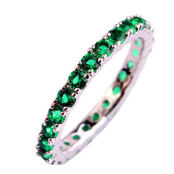 Green Emerald Quartz Silver Ring