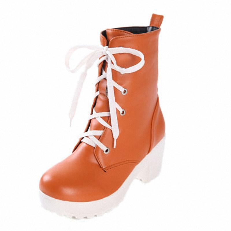 ENMAYER new 2015 Vintage Thick High Heels Women Ankle Boots heels shoe women Round Toe Platform Lace UP Martin boots Shoes<br><br>Aliexpress