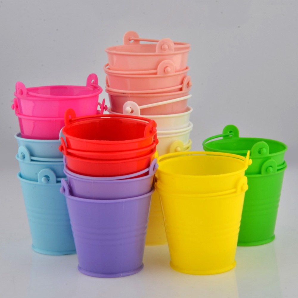 20 Pcs/ set Mini Cute Colorful Candy Buckets For Wedding Birthday Party Pails Bag Gift Toys For Kids(China (Mainland))