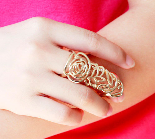 rings women new 2014 Gold Alloy Hollow Flower Shape Double Round Ring fine jewelry wedding - Jewelry Home's store