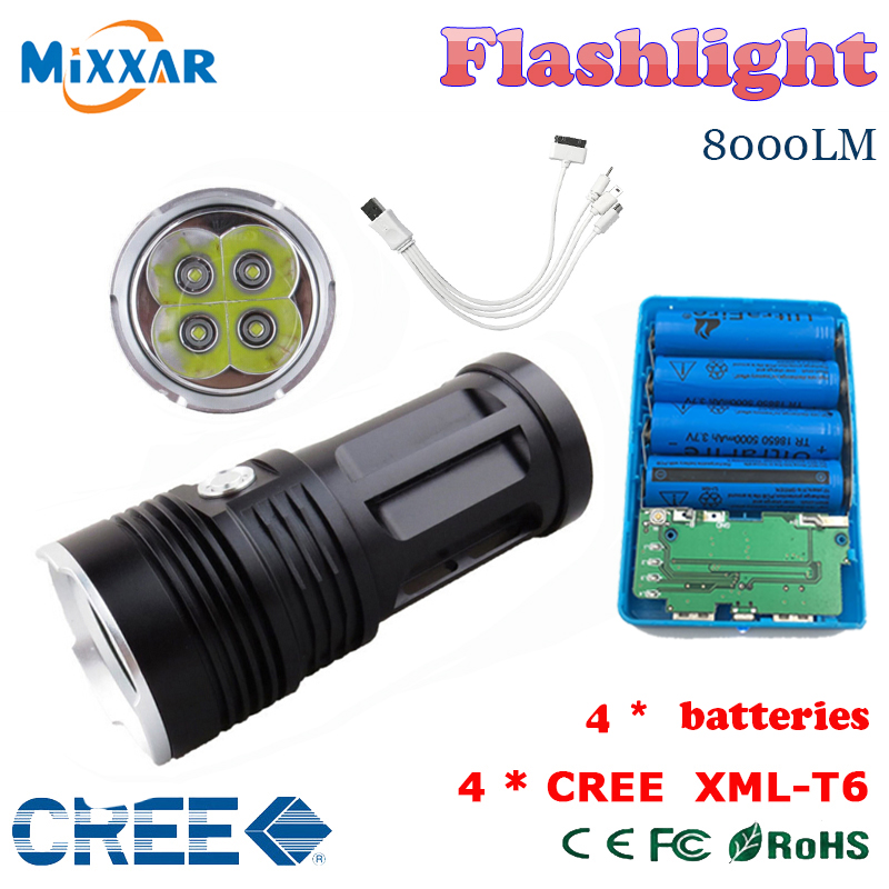 zk50 MI-4 8000 lumen led flashlight Torch 4x Cree XM-L T6 tactical Lantern torch and  4x18650 rechargeable battery<br><br>Aliexpress