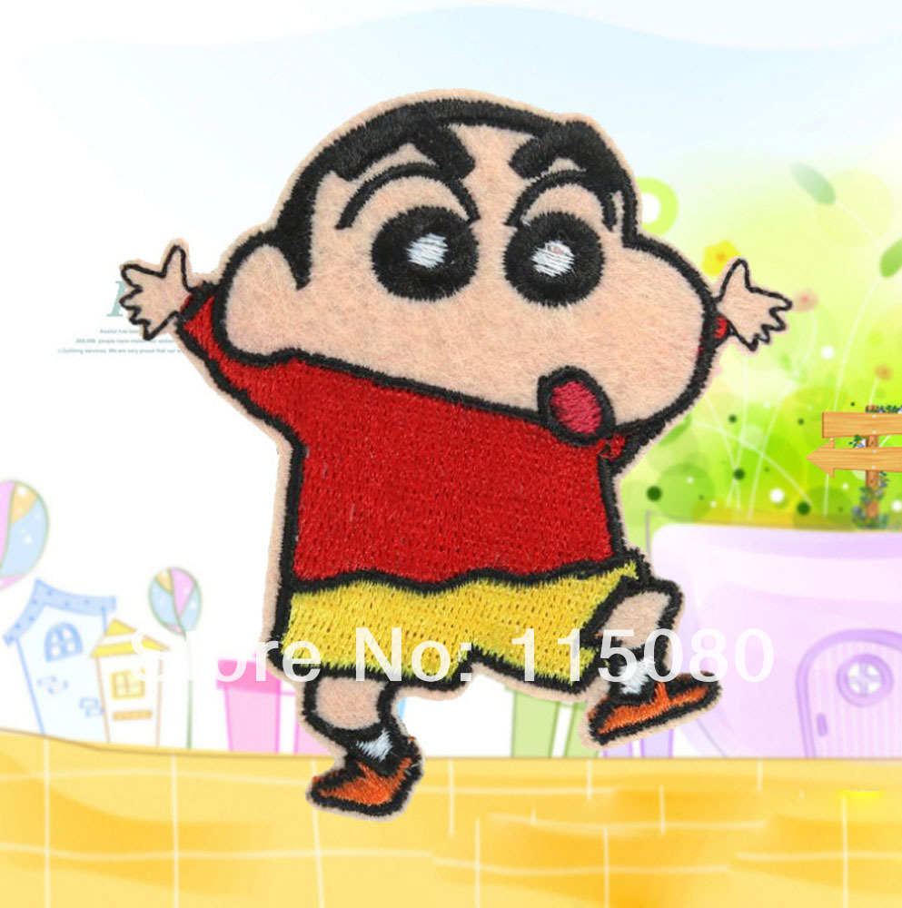 Lots 20pcs cartoon manga Crayon Shin-chan fabric Embroidered Motif patch garment badge embroidery sew-on or Iron-On Appliques(China (Mainland))