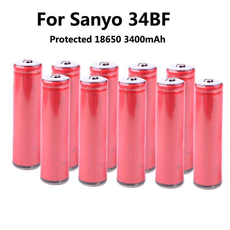 10 unids/lote Original Sanyo 18650 3400 mAh battery NCR18650BF protegida recargable Li ion 3400 mAh con PCB<br><br>Aliexpress