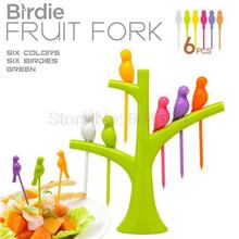 2015 New Tree Design Plastic Fruit Fork + Birds Fork Cutlery Set 6PCS Free shipping(China (Mainland))