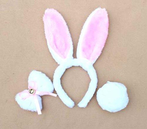 Best selling Kids Children White Rabbit Cosplay Christmas Halloween Costume Outfit Headband Tie Tail 3pcs Set(China (Mainland))