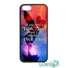 Fit for iphone 4 4s 5 5s 5c se 6 6s plus ipod touch 4/5/6 back skins cellphone case cover Tinkerbell Quote black