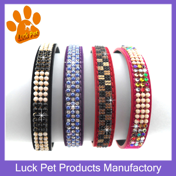 2015 New Arrival 4 colors High Quality Fashion Bling Colorful Rhinestone Dog Collars Velvet Pu Leather Making Pet Products SM101(China (Mainland))