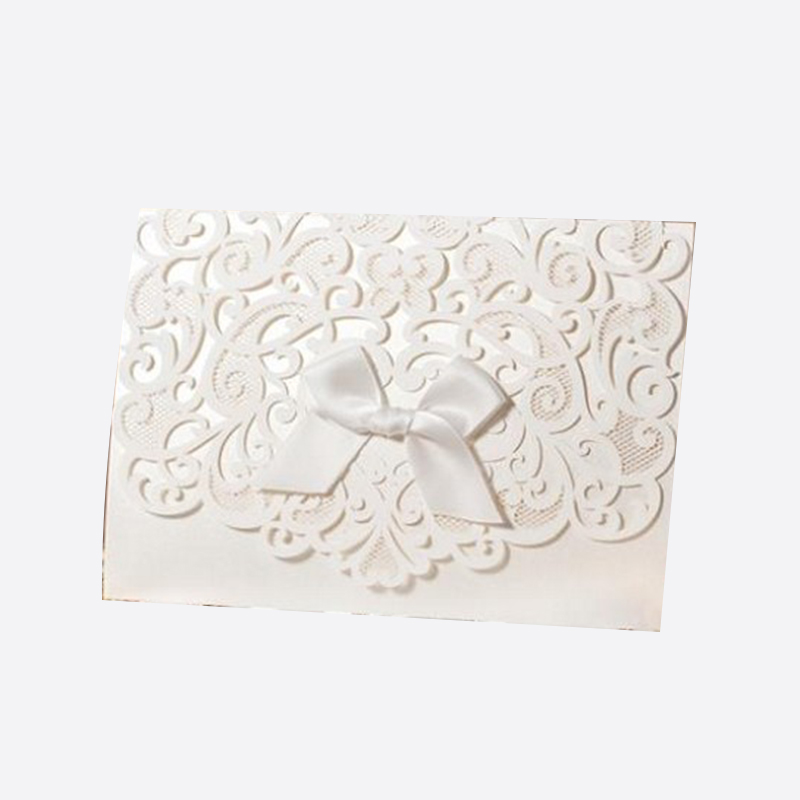 2016 Elegant White Laser Cut Floral Free Personalized Printing Wedding Invitation Cards With