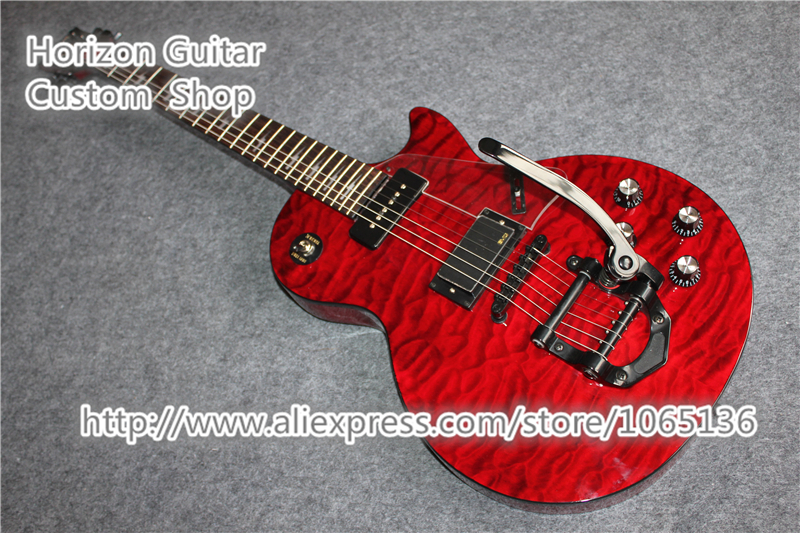 Custom Design Chinese LP Custom Electric Guitar Black Binding Clear Pickguard Bigspy Tremolo In Stock For Sale(China (Mainland))