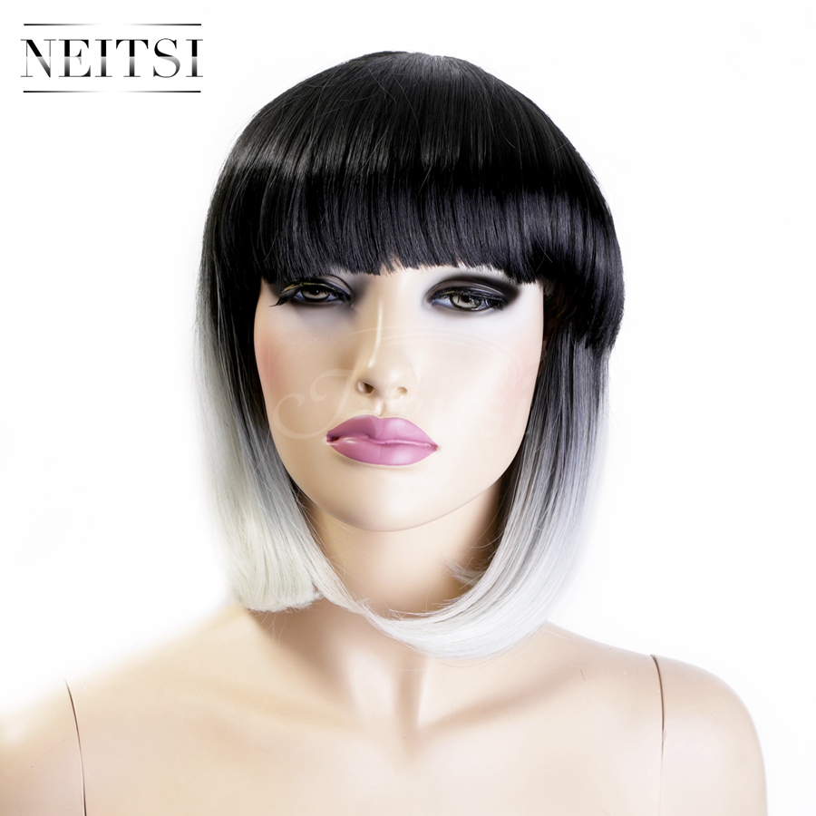"""Neitsi 14"""" Highlight Synthetic Short Wigs 1PC White Ombre Color Fashion Straight Bob Wigs Cosplay Wig For Woman Fast Shipping(China (Mainland))"""
